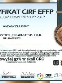 Certyfikat CIRF - Europejska Firma Fair-Play 2019