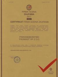 Certyfikat Firma godna zaufania 2017 - PROMIAST SP. Z O.O.