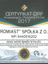 Certyfikat CIRF Innowacyjna i Rzetelna Firma 2017 - PROMIAST SP. Z O.O.